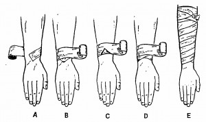 Figure 2-26. Applying a spiral bandage to a forearm.