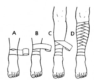 Figure 2-27. Applying a reverse spiral bandage to a lower leg.
