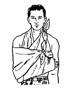 Figure 3-9. Sling and swathe applied to a casualty with a fractured rib.